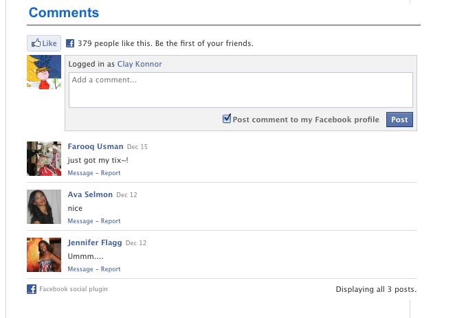 Facebook comment widget