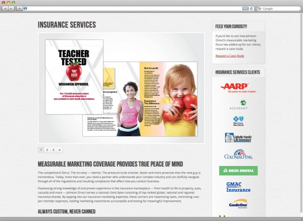 screenshot: Insurance Services